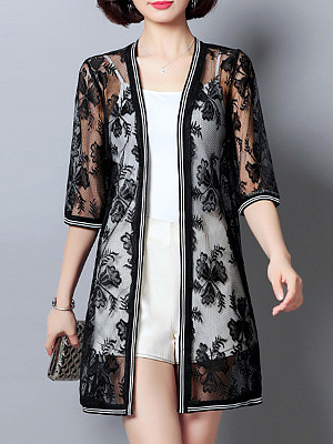 See-Through Floral Patchwork Half Sleeve Cardigan, 11367252