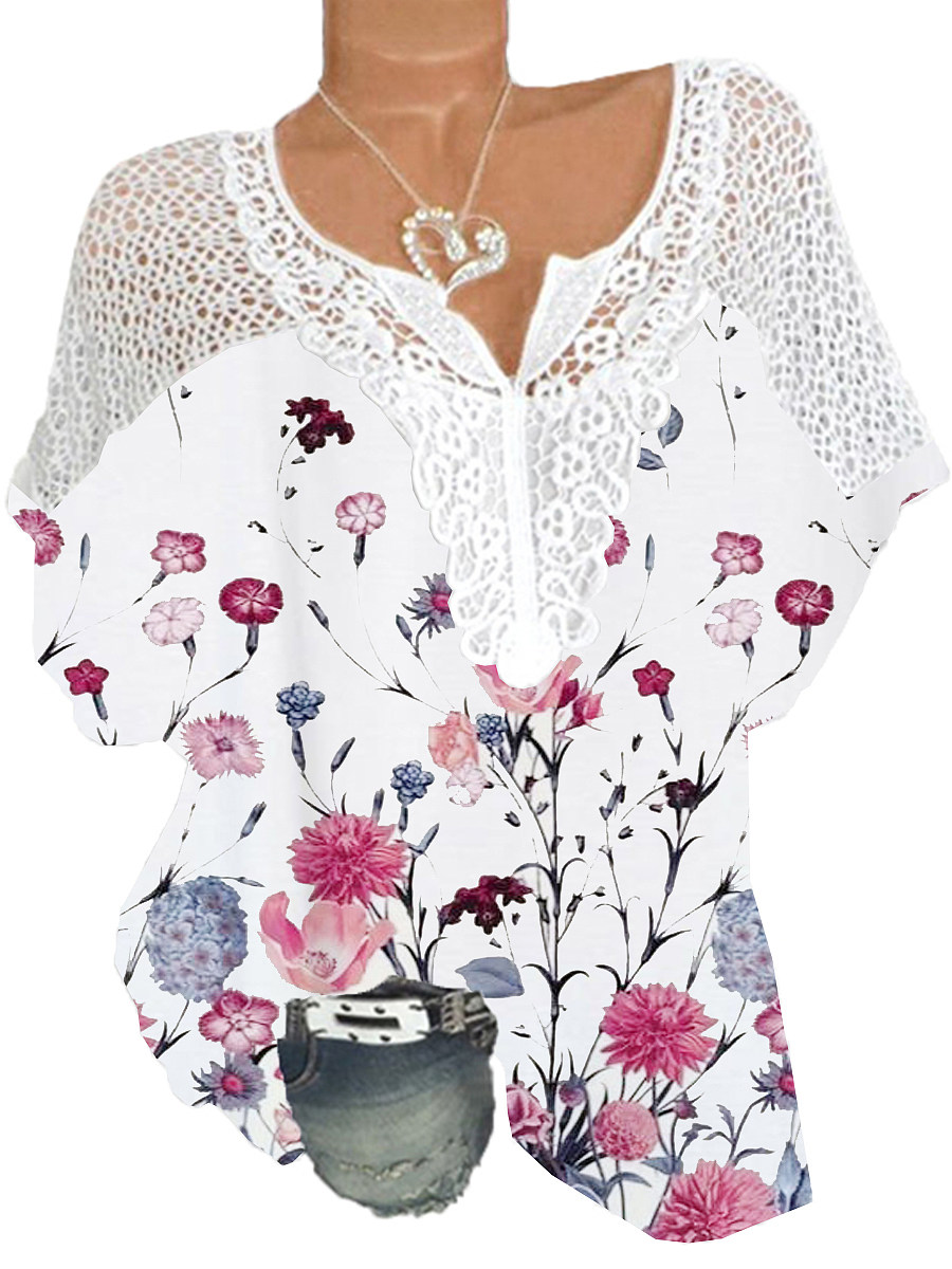 V Neck Patchwork Floral Print Short Sleeve Blouse