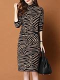 Image of Striped Long Sleeve Knit Shift Dress