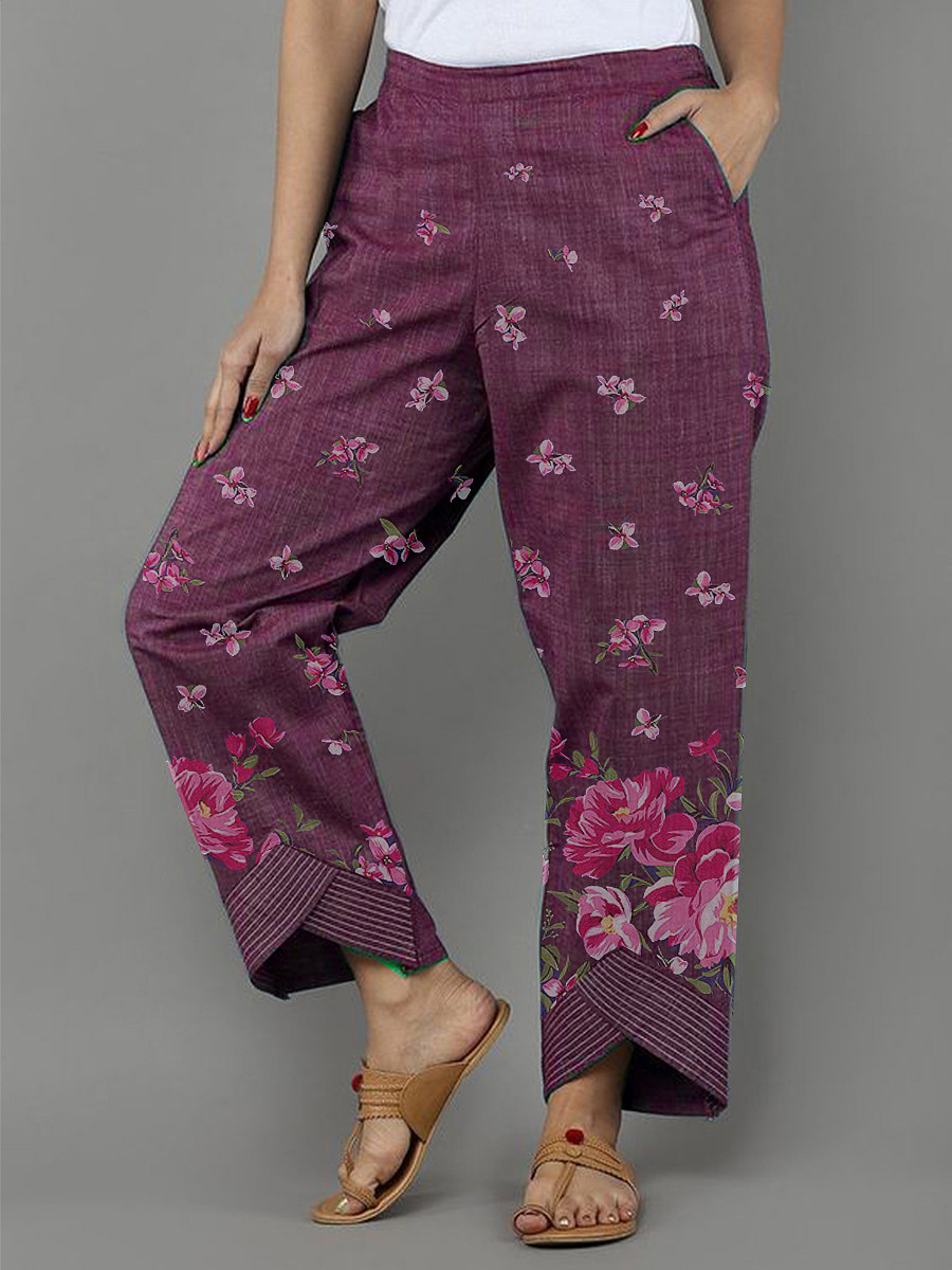 Fashion irregular printed casual wide-leg pants