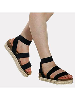Casual ladies peep-toe straw fisherman platform sandal, 11001156