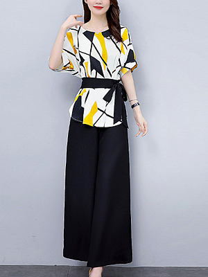 Round Neck Printed Short-sleeved Wide-leg Pants Suit