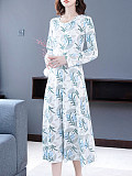 Image of Round Neck Print Long Sleeve Maxi Dress