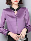 Round Neck Patchwork Long Sleeve Blouse