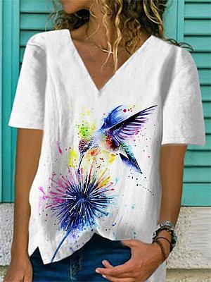 V-neck  Print Short-sleeved T-shirt