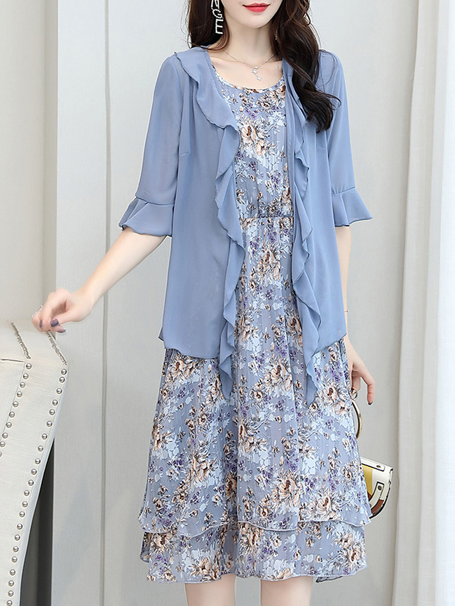 BerryLook Chiffon Floral Chiffon Two-piece Maxi Dress