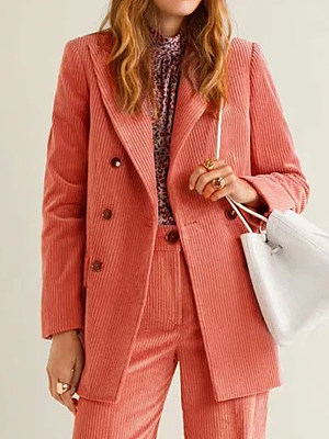 Women's Fashion Solid Color Corduroy Blazer gender:female, season:autumn,winter,spring, texture:corduroy, sleeve_length:long sleeve, style:japan and south korea, collar_type:suit lapel collar, dress_occasion:daily, bust:102,clothing length:71,shoulder width:39,