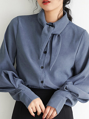 Turn Down collar Elegant Plain Long Sleeve Blouse, 10711106