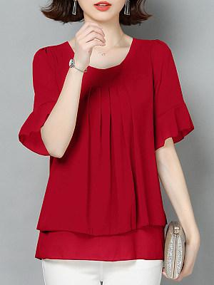 Round Neck Plain Elegant Short Sleeve Blouse, 24272338