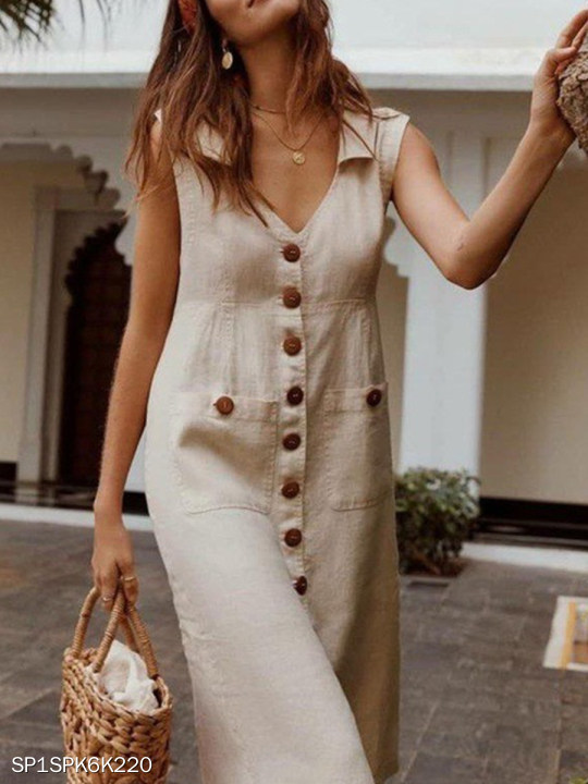 V-neck Single-breasted Linen Dress With Pockets