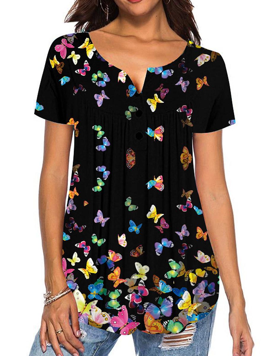 BerryLook Round Neck Butterfly Print Buttons Short Sleeve T-shirt