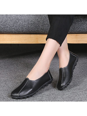 Plain Flat Round Toe Casual Flat & Loafers, 11227806