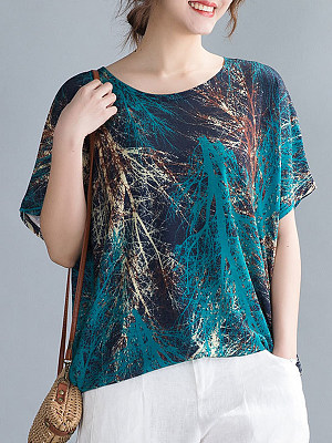 Round Neck Print Short Sleeve T-shirt, 23704789