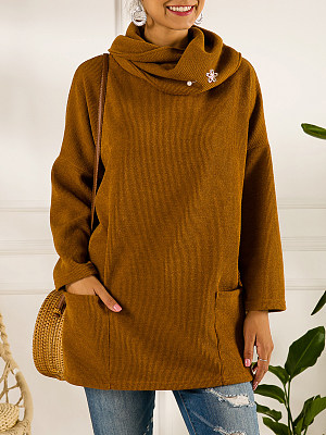 Pile of collar pockets loose sweater фото