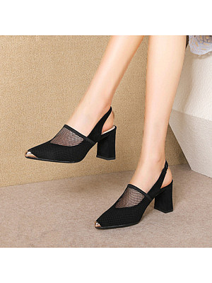 Fashion ladies metal pointed hollow chunky heels sandals, 11060040