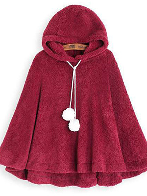 autumn and winter fleece solid color cloak