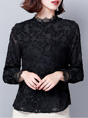 Band Collar Elegant Lace Long Sleeve Blouse, 10688102