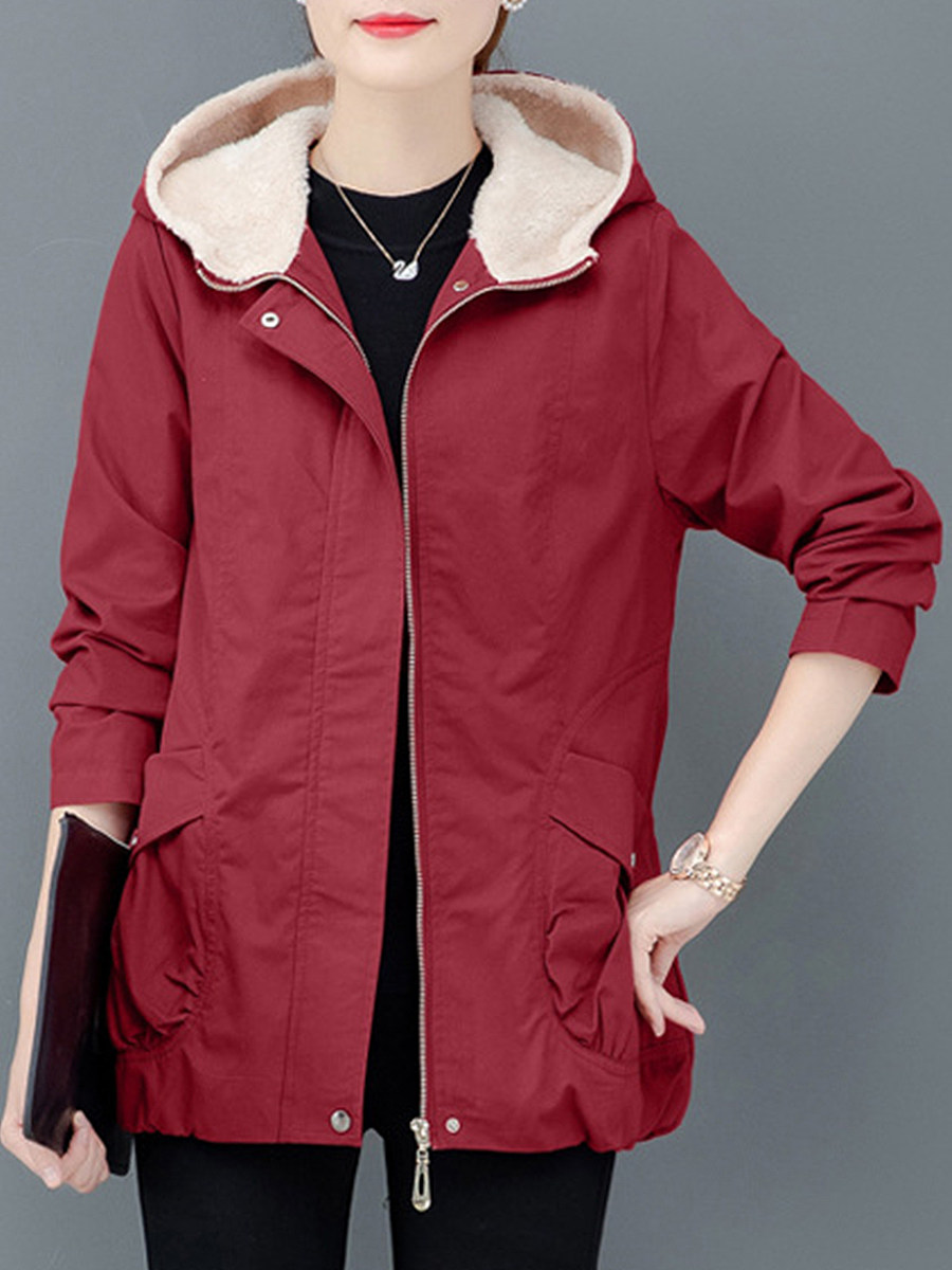 Casual solid colour loose plus fleece hooded coat - from $30.95