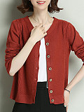 Single-breasted V-Neck Plain Long Sleeve Knit Cardigan