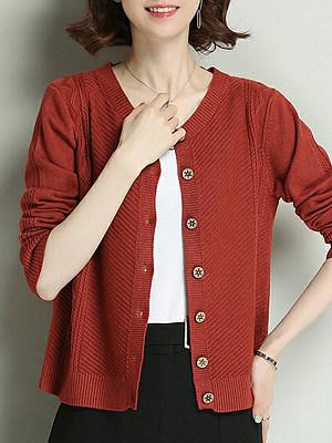Single-breasted V-Neck Plain Long Sleeve Knit Cardigan, 10325032