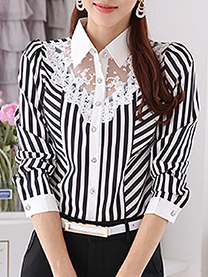 Turn Down Collar Patchwork Long Sleeve Blouse, 10977993