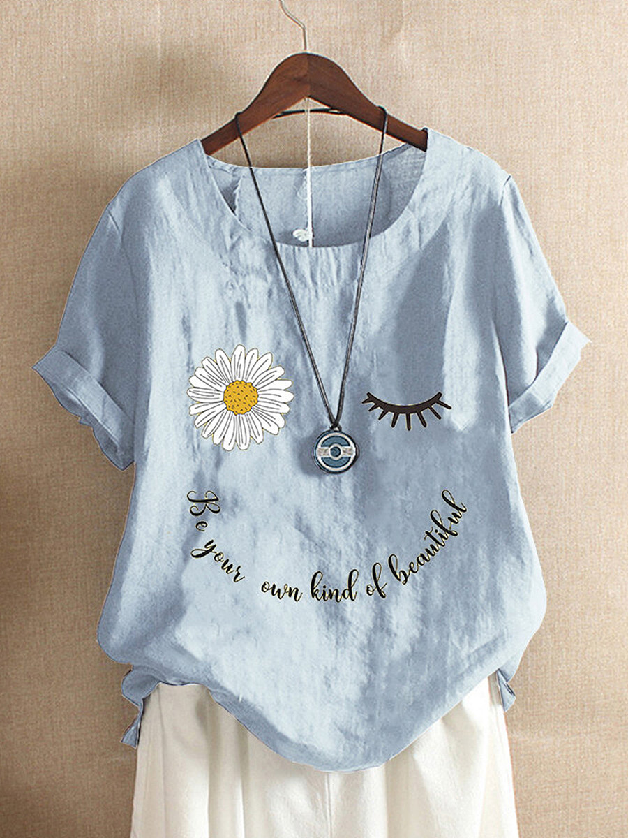 BerryLook Round Neck Print Short Sleeve Linen Blouse