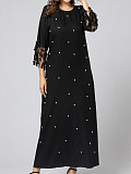 Image of Long Sleeve Round Neck A-Line Dress