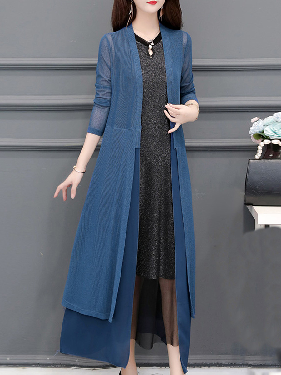 Plain Ultra-long Knee-length Long Sleeve Cardigan
