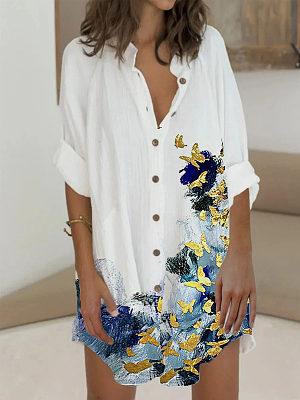 Lapel Butterfly Print Long Sleeve Ladies Dress