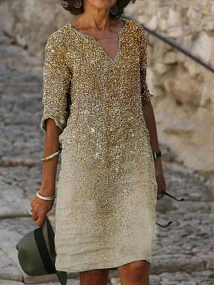 Fashion Star Print Long Sleeve Shift Dress