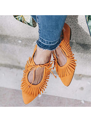 Women's Fashionable Casual Fringe Pointed Flat Shoes, 1415578769042751489