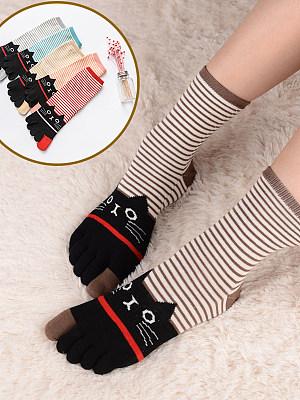 Autumn And Winter Stripes Cat Cotton Five-finger Socks