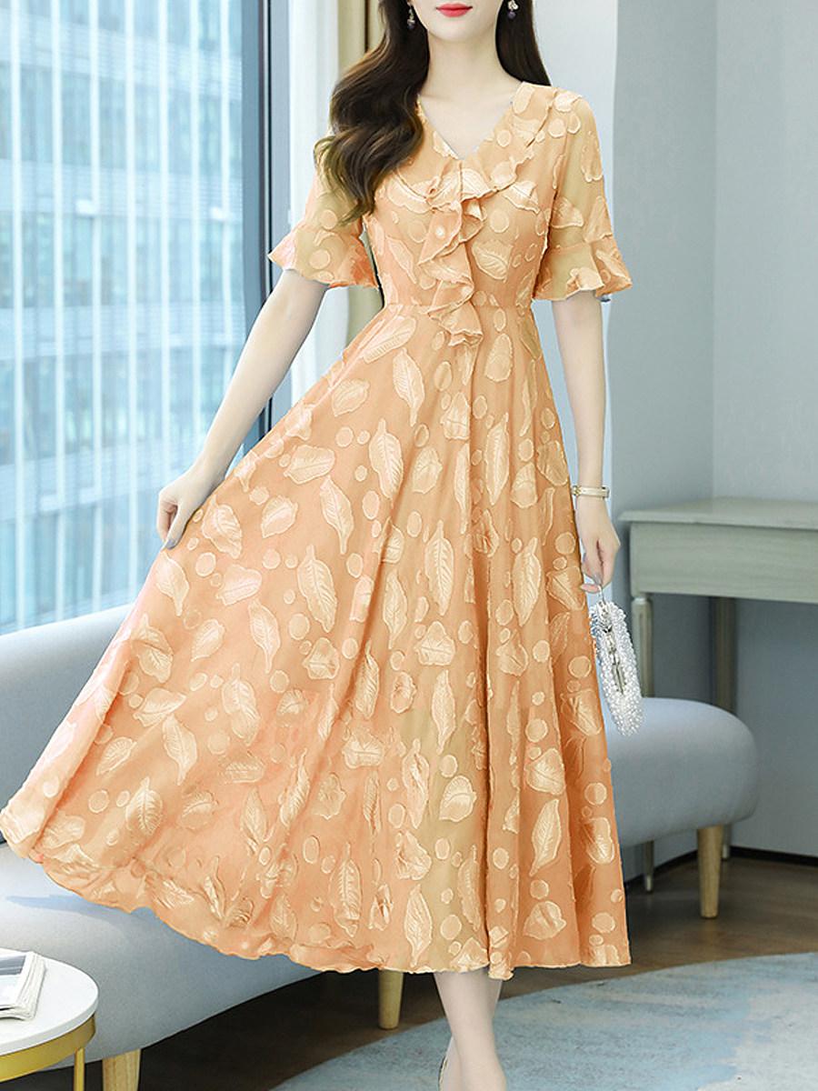 Elegant Print Three-quarter Sleeve Chiffon Dress