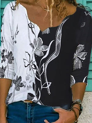 V-neck Stitching Floral Print Loose Long-sleeved T-shirt