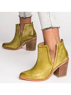 BERRYLOOK Women's Retro Slit Pointed Chunky Heels Ankle Boot