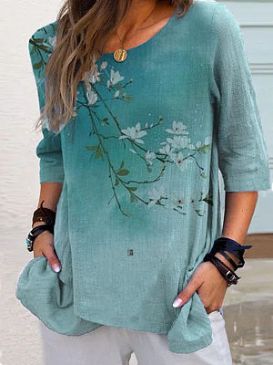 Round Neck Floral Print Three-Quarter Sleeve Casual Blouses