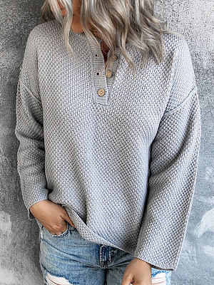 Round Neck Loose Casual Sweater Long Sleeve Pullover
