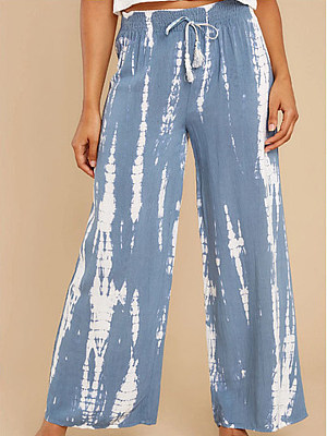 Women's Casual Tie-dye Printed Lace-up Long Wide-leg Pants