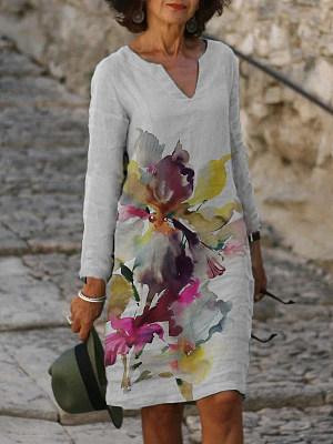 Berrylook coupon: Casual Art Floral Print V-neck Long Sleeve Midi Dress Women
