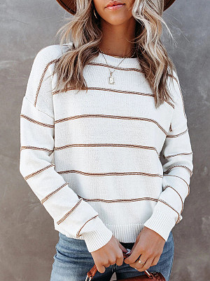Round Neck Striped Long-sleeved Pullover Loose Sweater