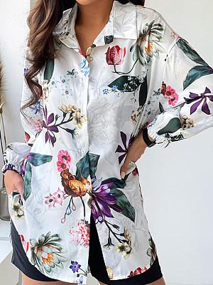 Printed Long-sleeved Lapel Blouse