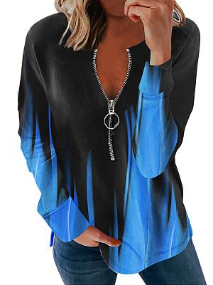 Casual Zipper Print Long Sleeve T-shirt