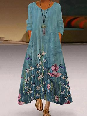 Women's Casual Retro Printed Long-sleeved Dress, 1420007476536852482
