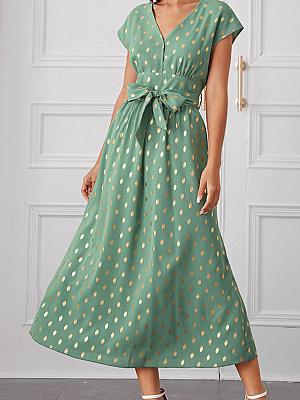 Women's Casual Polka Dot Belt Dress, 1419974773896691713