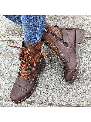 Berrylook coupon: Women's Lace-up Stitching Martin Boots