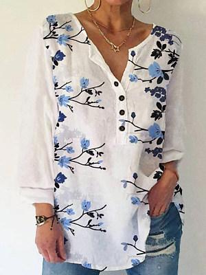 V-Neck Button Floral Art Print Casual Loose Ladies Shirt