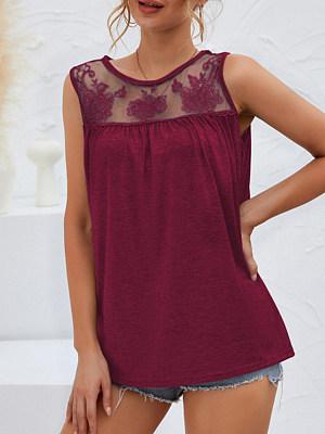 Stitched Sleeveless Lace T-shirt