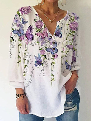 Casual Floral Butterfly Print V Neck Buttons Long Sleeves Blouse