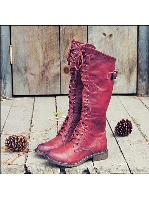 BERRYLOOK Women's Lace-up Low-heel Knight Boots