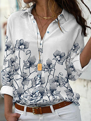 Casual Flower Print Lapel Long-sleeved Casual Blouse